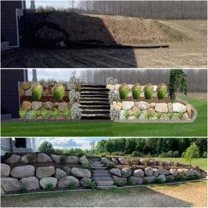 Before and after rock landscape
